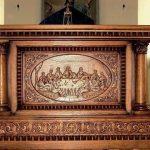 Meja Altar Gereja Jati Ukiran Relif Perjamuan