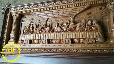 ukiran perjamuan kudus kayu jati