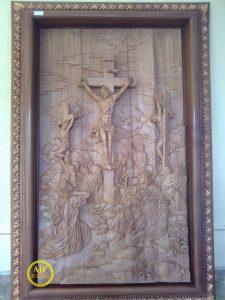 Jalan salib yesus ukiran kayu