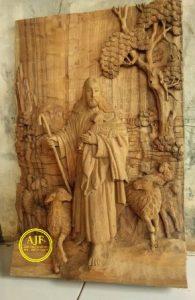 Ukiran Relief Yesus Gembala Baik