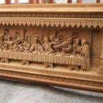 Ukiran Jepara Relief Perjamuan Kudus Kayu Jati