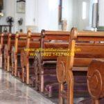 bangku jemaat gereja katolik kayu jati