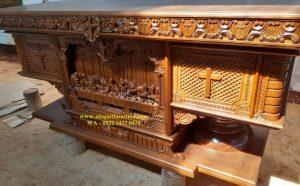 Meja Altar Katolik Ukiran Perjamuan
